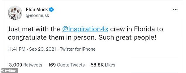 Musk said he had personally met with the crew of Jared Isaacman, Hayley Arsinaux, Sean Proctor and Chris Sambrowski in Florida to congratulate them on their mission.