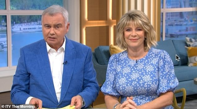 Weird: Eamon Holmes (abandoned with wife Ruth Langsford) once told Anne Robinson that if she were a man he would 'behead her' - after criticizing her upbringing