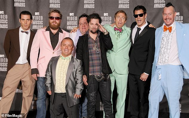 The stars: From left, Steve-O, Wee Man, Ryan Dunn, Preston Lacy, Bam Marjera, Dave England, Johnny Knoxville and Ehren McGhehe of Jackass pose in the press room at the 2010 MTV Video Music Awards at the Nokia Theatre in LA