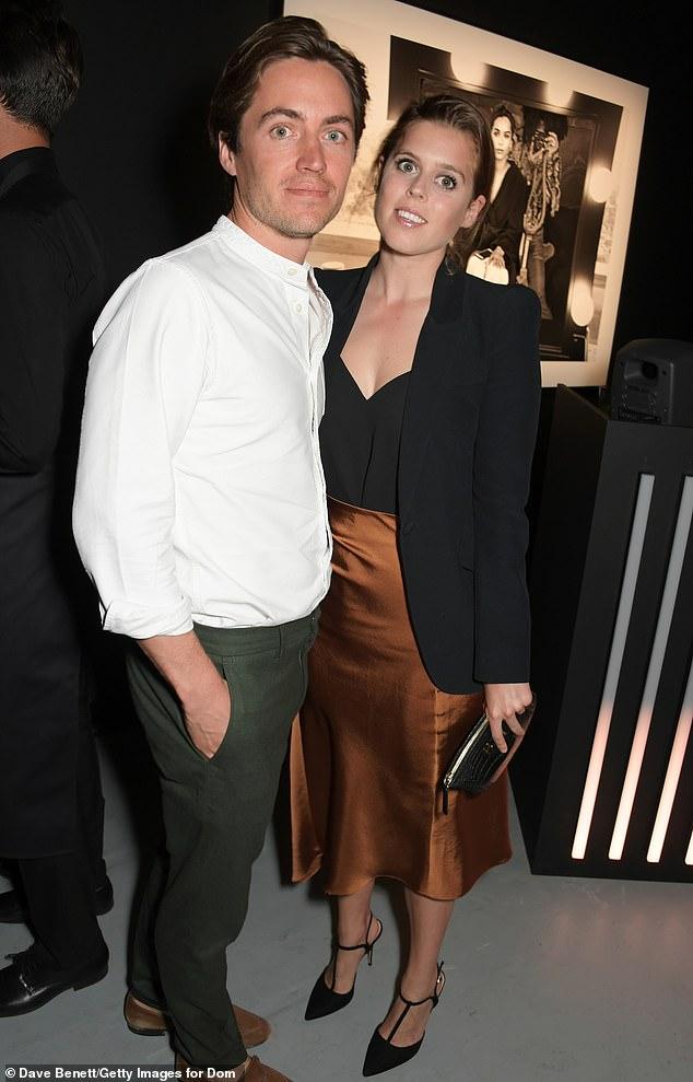 Edoardo Mapelli Mozzi and Princess Beatrice of York attend the Lenny Kravitz & Dom Perignon 'Assemblage' exhibition on July 10, 2019 in London