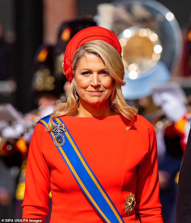 Maxima (pictured), who is fond of colour coordinating her spectacular outfits, teamed the flattering gown with red high heels and a matching clutch