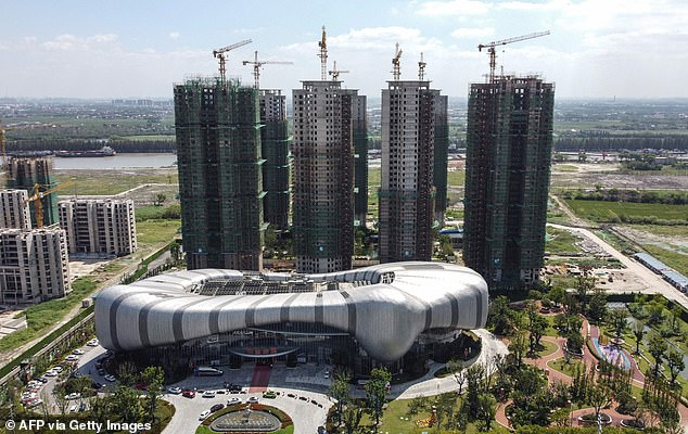 The halted under-construction Evergrande Cultural Tourism City, a mixed-used residential-retail-entertainment development, in Taicang, Suzhou city, in China's eastern Jiangsu province