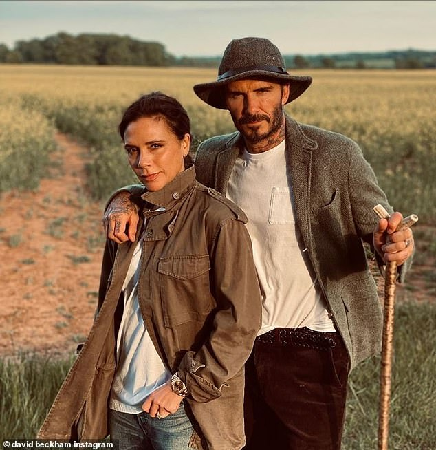 Kind: Footballer David, 46, wrote in the caption: 'Proud as always.  Another amazing collection @victoriabeckham' (pictured together last summer)
