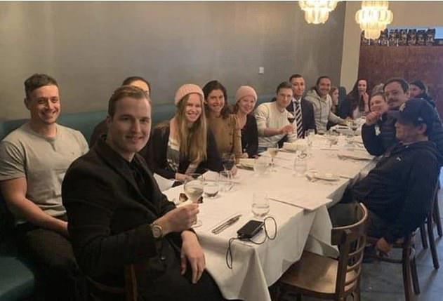 Mr Mclean (at the front)was part of a group of activists caught dining at Moda Kitchen and Bar in the inner-Melbourne suburb of Seddon during lockdown