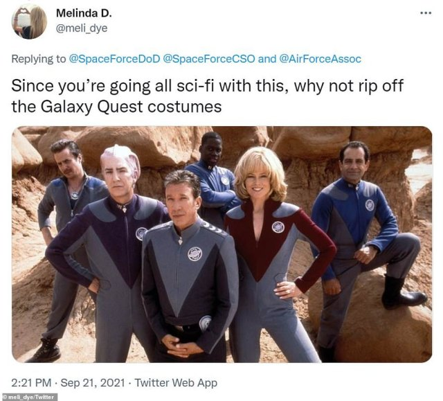 Others joked that the Space Force embrace other sci-fi uniforms