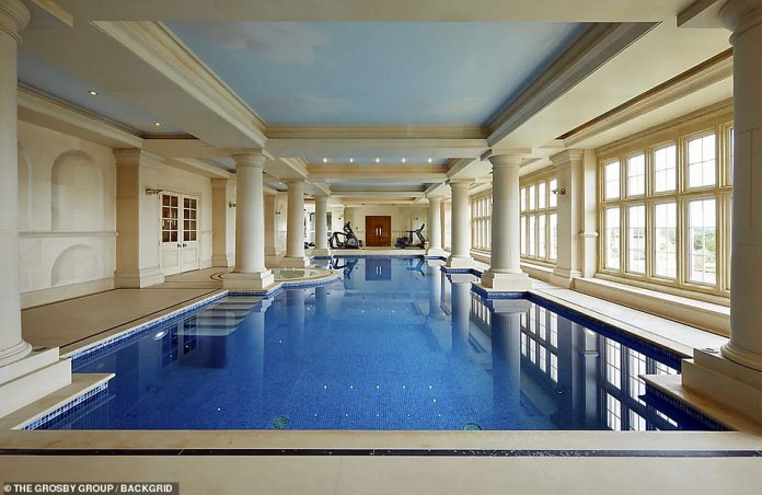 Robbie said via listing agent: 'On rainy days - of which there are many in England - we played and splashed around the indoor pool, much to our delight'