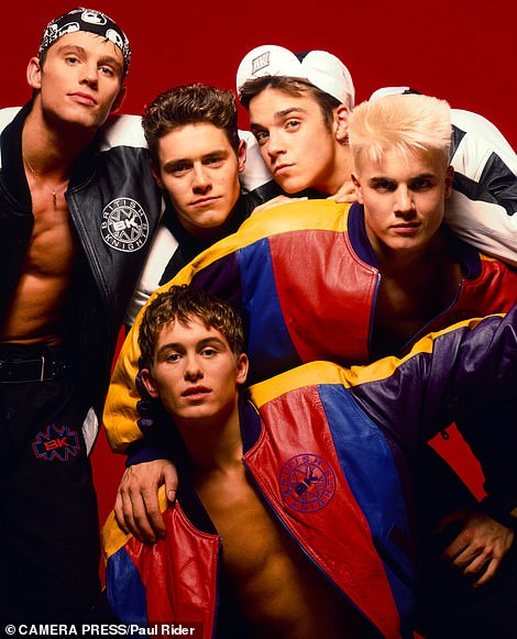 Music mogul: Robbie rose to fame as the fifth part of '90s boyband Take That [pictured in the early 1990s with Jason Orange, Howard Donald, Gary Barlow and Mark Owen]