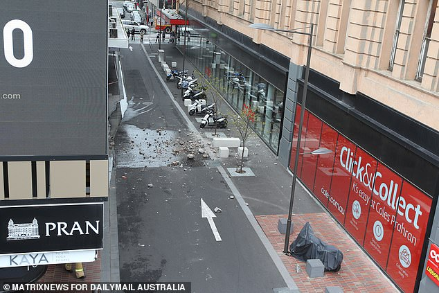 A building also appeared to have been damaged by the earthquake on Wattle Street in Melbourne's inner-city Prahran