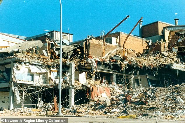 The devastating 1989 Newcastle earthquake killed 13 people including nine in the Newcastle Workers' Club, which is pictured above