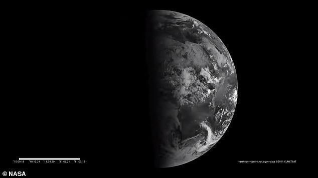 At an equinox, Earth's terminator – the dividing line between day and night – becomes perpendicular and connects the north and south poles.  Pictured, the terminator line is perpendicular to the September equinox