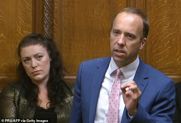 Matt Hancock (pictured in the Commons this month) has apologised for being late registering shares in a medical company that has contracts with the NHS