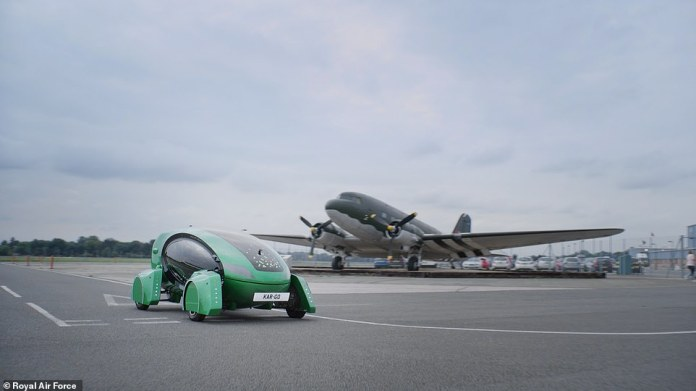 According to the Royal Air Force, by transporting various cargoes, the Auxiliary Green Vehicle frees RAF human personnel from mundane tasks.