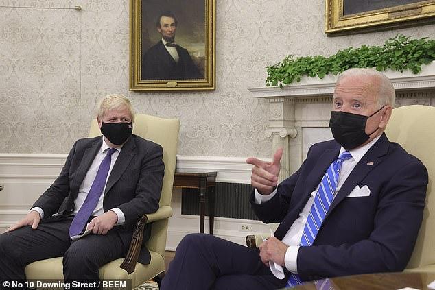 President Joe Biden prepares to speak with French President Emmanuel Macron.  On Tuesday, he met Prime Minister Boris Johnson at the White House