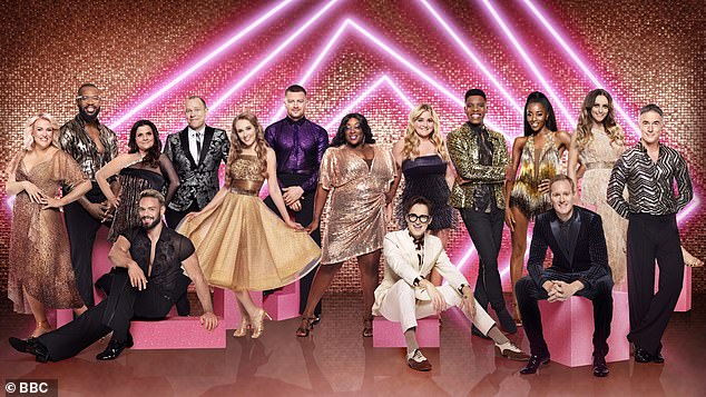 Rules:Following reports that one celebrity was furious to learn their professional partner hadn't been jabbed, former Strictly stars have led calls for the unvaccinated dancers to be dropped from the show (the celebrity lineup is pictured)