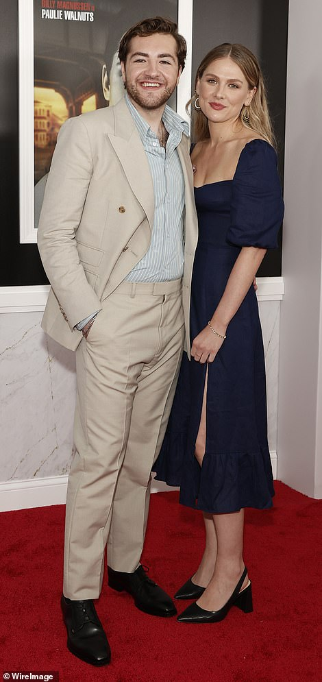 Ladies man: After Michael put on a loved up display with his plus one (pictured), he posed for snapshots with costar Alexandra Intrator, who plays Tony's elder sister Janice in the film