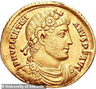 This coin was made by the Roman Emperor Valentinian I.  Shows