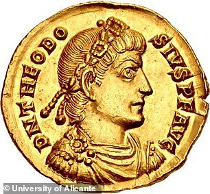 Theodosius I is depicted in this coin