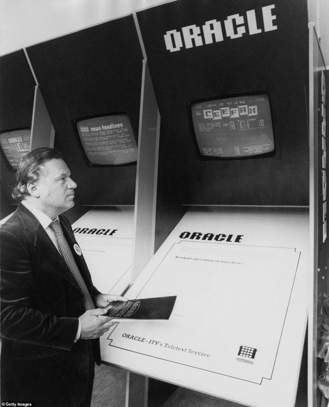 As new sets quickly became cheaper and other broadcasters launched their own teletext services, interactive TV soon became ubiquitous. Above:ITN newscaster Reginald Bosanquet (1932 - 1984) demonstrates ORACLE, ITV's teletext service, and accidentally accesses CEEFAX, the BBC's information service, circa 1975