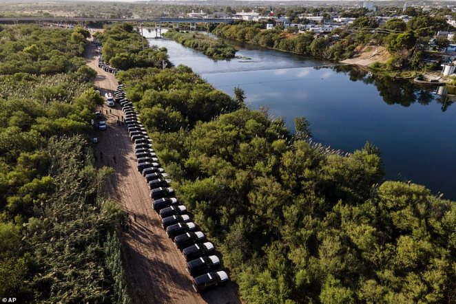 They are lined up outside Del Rio in Texas, which has seen an influx of 14,600 migrants who crossed the Rio Grande from Mexico into the US. An estimated 8,600 remained in the town of 35,000 people as of Tuesday night, with 1,083 so far deported back to Haiti