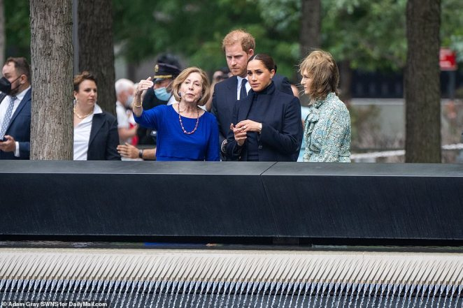 Meghan and Harry at the South Tower memorial pool at the with 9/11 Memorial and Museum with National September 11 Memorial and Museum President Alice Greenwald (in blue) andPatricia Harris, CEO of Bloomberg Philanthropy (in green)