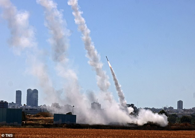 Israel's Iron Dome aerial defense system is activated to intercept a rocket launched from the Gaza Strip on May 12