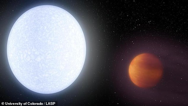 Discovered in June 2017 KELT-9b (right) has a temperature of 7,800 degrees Fahrenheit and takes just a day and a half to orbit its star.
