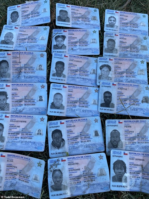 These are the discarded ID cards of the Haitian migrants who have turned up in Del Rio by the thousand after leaving Chile, where they were living as refugees
