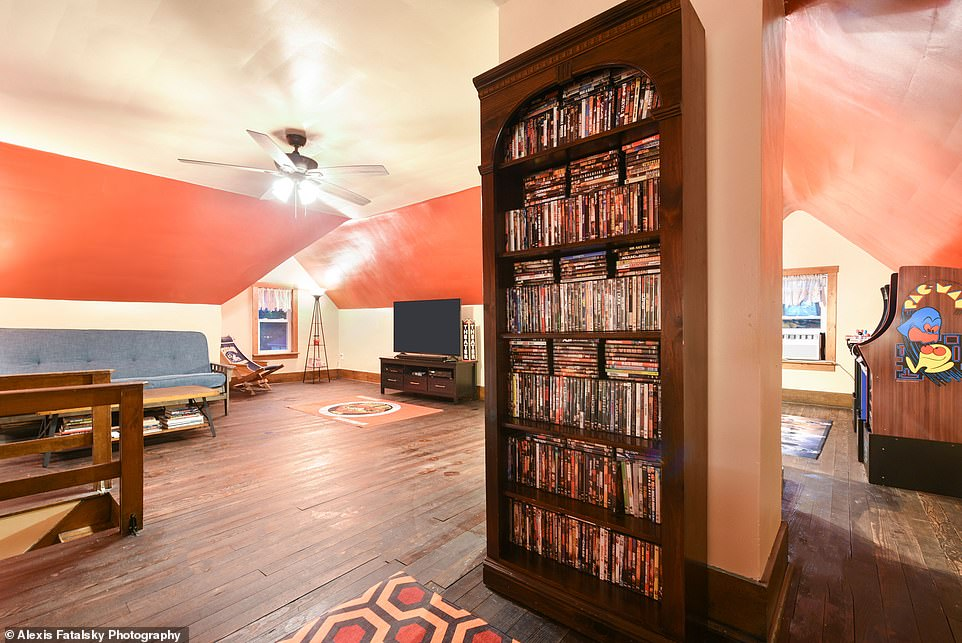Entertainment: The room has a large screen TV and a library of DVC and VHS tapes from the '80s and '90s