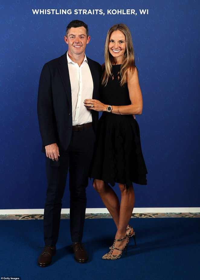 Northern Irish superstar Rory McIlroy has the sport's supporting cast to thank for finding his wife (pictured together). He met Erica Stoll at the 2012 Ryder Cup in Medinah, Illinois, when he famously overslept due to jet lag and sheoffered him a lift to the course