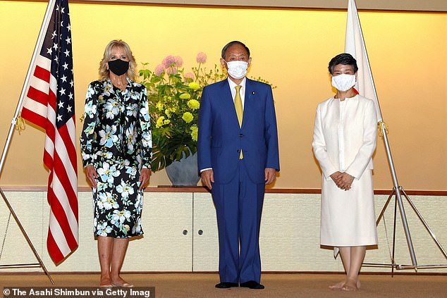 Dr. Jill Biden (left) will participate in portions of the day involving Japanese Prime Minister Yoshihide Suga (center), who hosted diplomatic events for the first lady along with his wife Mariko (right) when she was in Tokyo in July for the summer Olympics