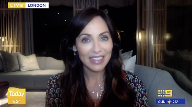 Awk! 'This is perhaps one of your biggest fans, our own newsreader Alex Cullen. Alex, this is your chance. What would you like to say to Natalie?' Ally asked. Pictured Natalie Imbruglia