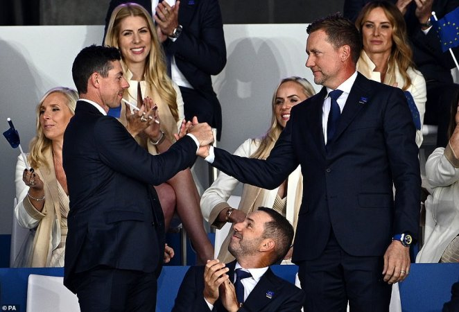 Team Europe took to the stage at the Ryder Cup opening ceremony on Thursday night at a light-hearted gala dinner
