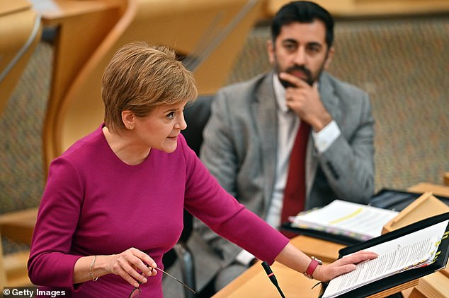 Scotland effectively decriminalised drugs on Wednesday as the SNP announced police would be advised to issue only a 'recorded police warning' to anyone in possession of drugs, including Class A heroin and cocaine (pictured:Nicola Sturgeon)
