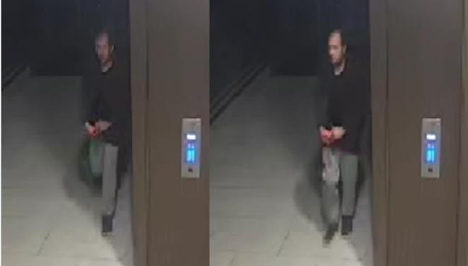 The man, pictured with balding, dark hair in grey tracksuit bottoms, a dark-coloured hoodie and black shoes, was seen on CCTV in Peglar Square on the evening of Sabina's attack