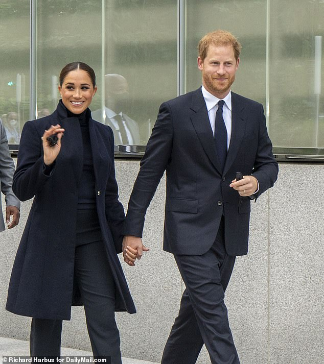 Meghan Markle and Prince Harry are seen here leaving One World Trade Center after an hours-long visit to the somber memorial Thursday morning