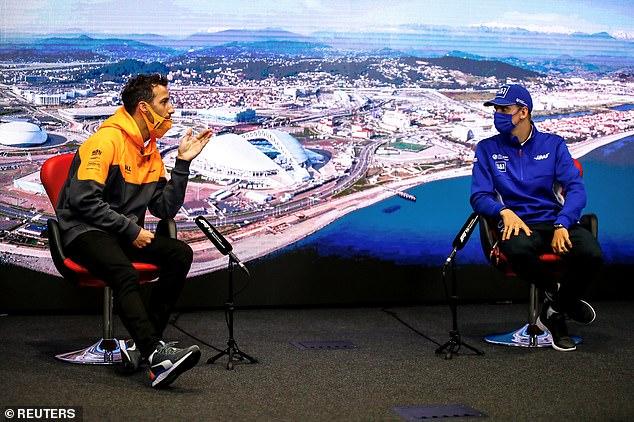 McLaren's Daniel Ricciardo and Haas' Mick Schumacher during a press conference ahead of the next F1 race in Sochi, Russia