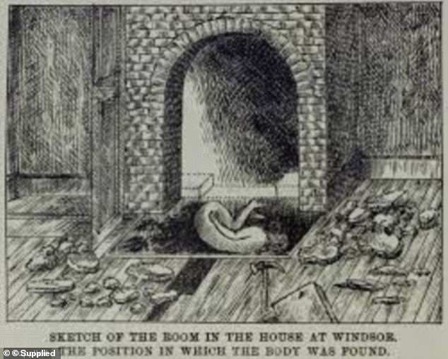 Bedroom grave: The public fascination with Fred Deeming's murders was such that illustrations were published depicting the body of Emily Mather (pictured) after she was murdered and before Deeming concreted her into the bedroom hearth
