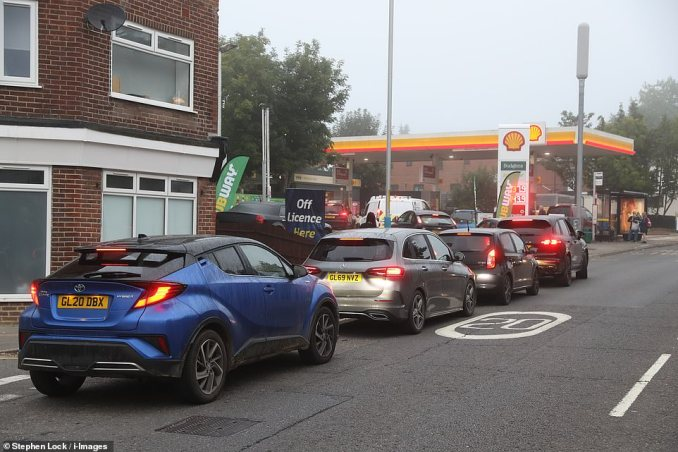 Motorists and shoppers have been urged not to panic buy fuel and goods, with a Government spokeswoman saying: 'There is no shortage of fuel in the UK, and people should continue to buy fuel as normal.'