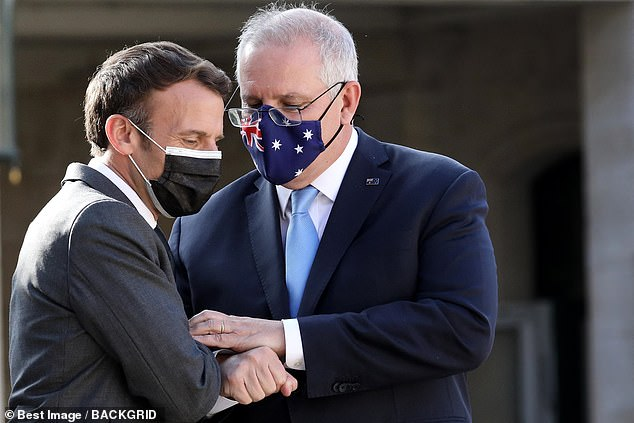 Mr Morrison flew to France in June to meet with Mr Macron (pictured) but diplomatic relations have slumped after Australia reneged on a $90billion deal to buy French submarines
