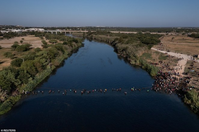 Footage emerged Monday of scores of mostly Haitian migrants returning to the Mexico side of the Rio Grande River crossing as DHS accelerates deportations