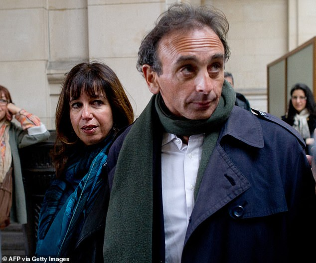 Éric Zemmour, pictured with his wife of 35 yearsMylene Chichportich, is at the centre of a scandal after photos emerged of him embracing his young political aide