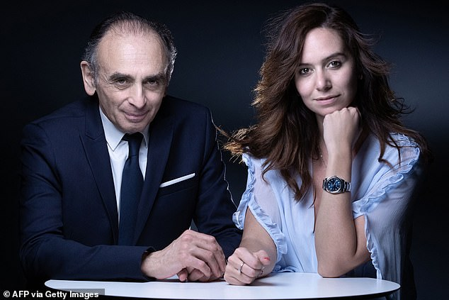 Lawyers representing both Zemmour and Knafo (pictured together), a senior civil servant on leave to join his campaign, said they will be suing Paris Match for breaching privacy laws