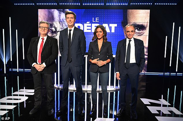 Some opponents of Zemmour (pictured during a TV debate with other election hopefuls) claim the pundit staged a false exposé of his alleged affair to gain publicity and endear him to the French public