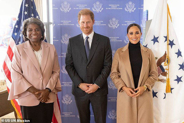 Meghan and Prince Harry pose for a photo with US Ambassador to the United Nations Linda Thomas-Greenfield at 50 United Nations Plaza