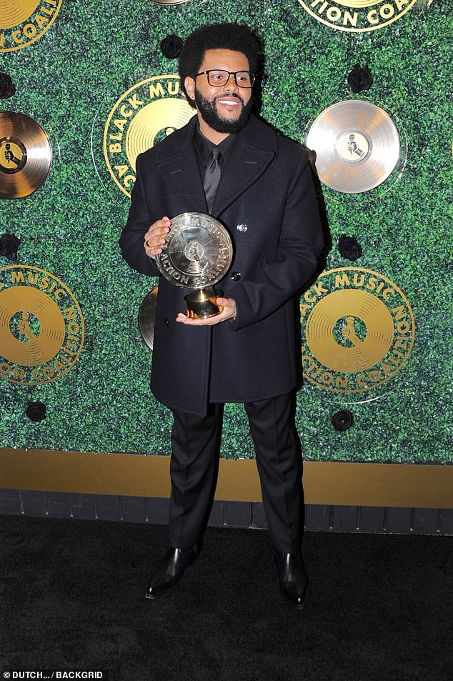 Deserving: After using his influential platform to support the Black Lives Matter movement, the singer, 31, was honored with the Quincy Jones Humanitarian Award which he happily presented while gracing the red carpet with his presence