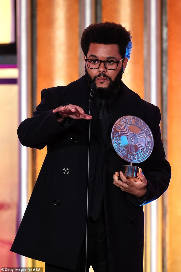 Heartfelt: The Weeknd gave a touching speech as he picked up his gong