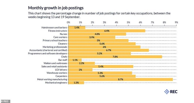 A breakdown of the figures by different job types, including cleaners, care workers and chefs