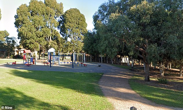 A woman, 51, was placed in a headlock, dragged to the ground and kicked repeatedly, with the attackers also setting their dog on a man who intervened at Slater Reserve in Blackburn North, a suburb in Melbourne's east