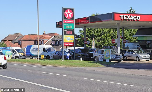 Prices have averaged around 135p per litre this week. But a Texaco petrol station in West Kingsdown, Kent, was seen charging 145.9p today
