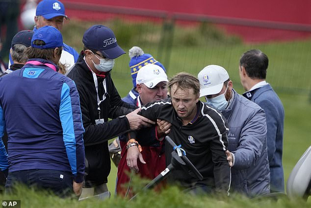 Felton was lifted on to a stretcher, put on a golf buggy and taken off the course in Whistling Straits, Sheboygan. The contrast with his arrival could not have been more marked